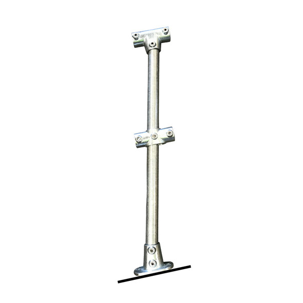 Ezyrail - Through stanchion (Galvanised) w/ Base Fixing Plate - 0°-11°