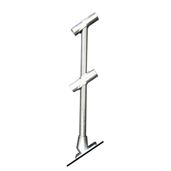 Ezyrail - Through stanchion (Galvanised) w/ Base Fixing Plate - 30°-45°