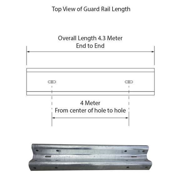 Guardrail 4M length – Powdercoated Safety Yellow