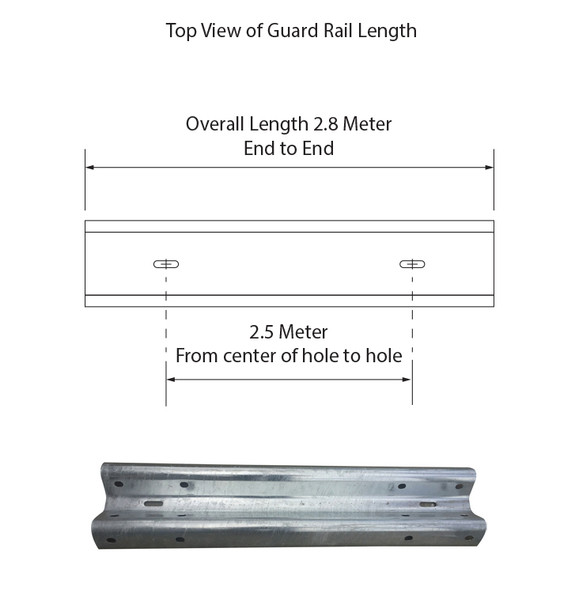 Guardrail 2.5M Length - Powdercoated Safety Yellow