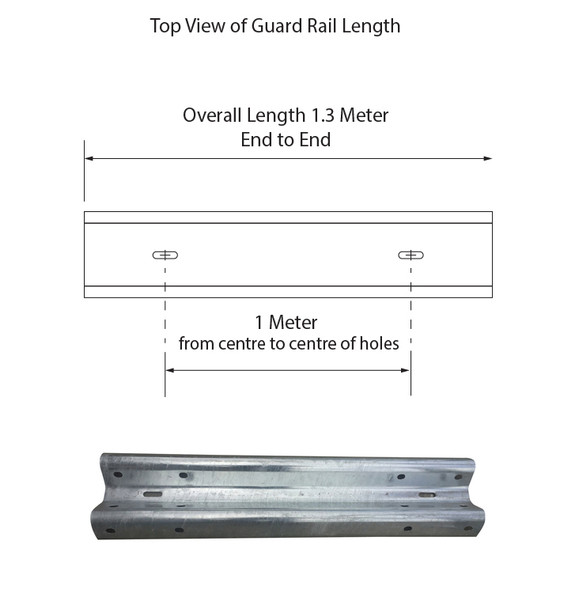 Guardrail 1M length - Powdercoated Safety Yellow