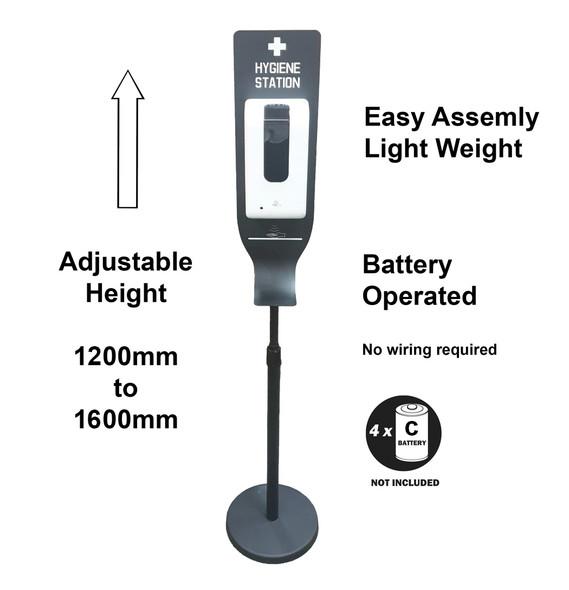 Automatic Hand Sanitiser Self Standing Unit - Adjustable Height