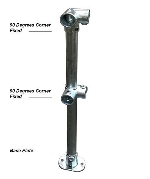 Ezyrail - Corner stanchion (Galvanised) w/ Base Fixing Plate