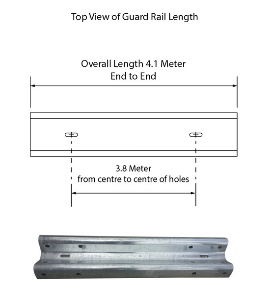 Guardrail 3.8M Length - Powdercoated Safety Yellow