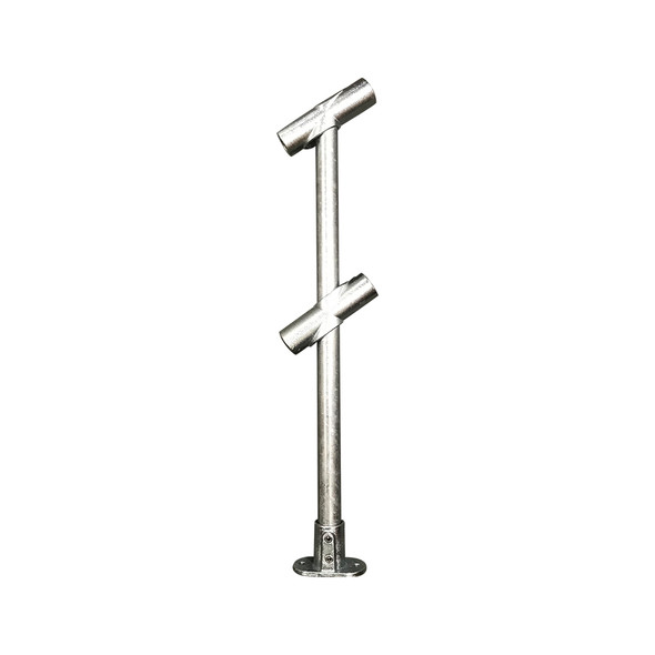 Ezyrail - Through Stanchion (Galvanised) w/ Straight Angle Base Fixing Plate 30°-45° fittings