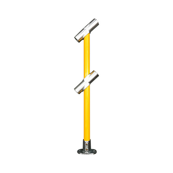Ezyrail - Through Stanchion (Powdercoat) w/ Straight Angle Base Fixing Plate 30°-45° fittings