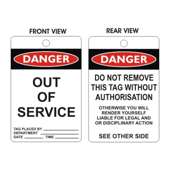 Danger - Out Of Service Tags - Black & White - (100mm x 150mm)