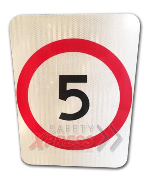 5km Speed Restriction Sign (450mm x 600mm) - Class 1 Reflective Aluminium