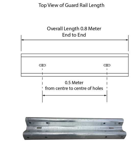 Guardrail 0.5M length - Galvanised