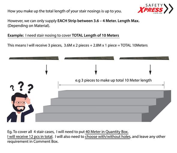 Aluminium Stair Nosing - Carborundum Super Anti Slip Insert - Black - 75mmx10mm - Sold Per Metre