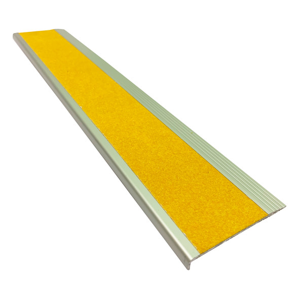 Aluminium Stair Nosing - Carborundum Super Anti Slip Insert - Yellow - 75mmx10mm - Sold Per Metre