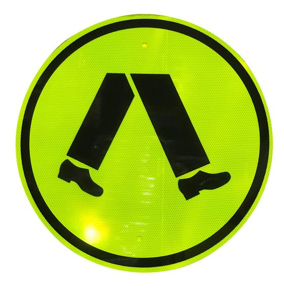 Pedestrian Crossing Sign (600mm) Round  - Class 1 Reflective Aluminium