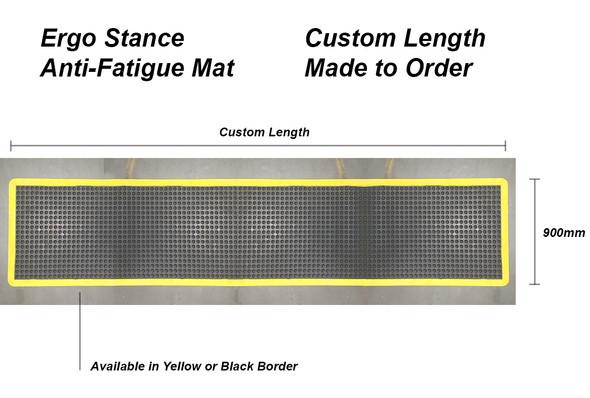 Anti Fatigue Mat - Ergo Stance - 900mm x Custom Length  -  Black OR Yellow Border - Custom Order