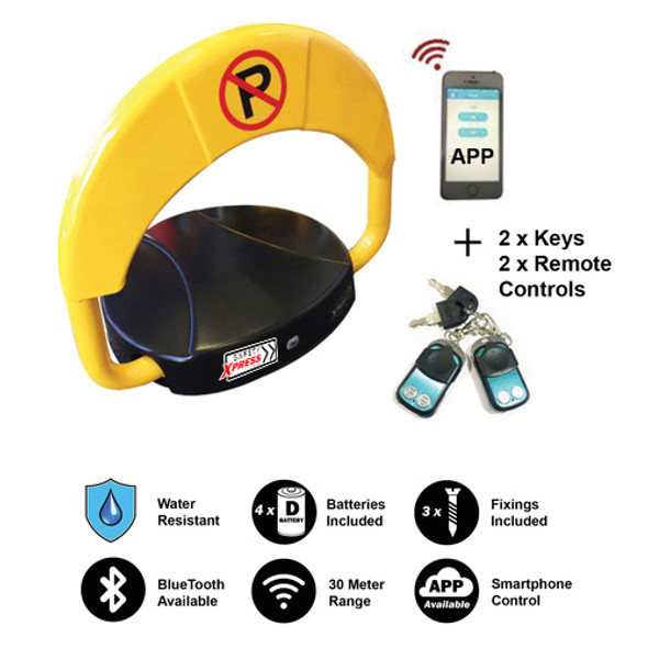 Automatic Parking Lock - 2 x Remote Controls incl. Plus Smart Phone App Bluetooth Controlled