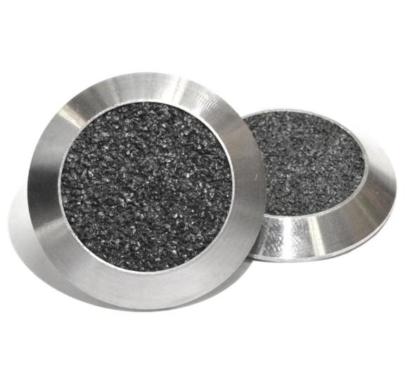 Tactile Indicator Single Studs - TGSI Stainless Steel with Black Carborundum insert (Flat Back)