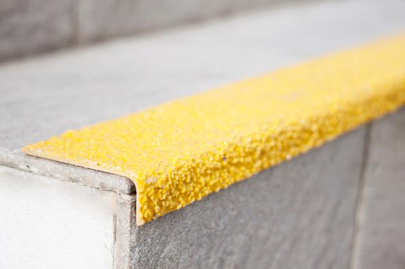 Fibreglass 70mmx10mm Stair Nosing - Yellow - Sold Per Metre