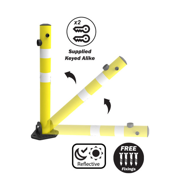 Fold Down Parking Protector Bollard  - 700mm x 70mm