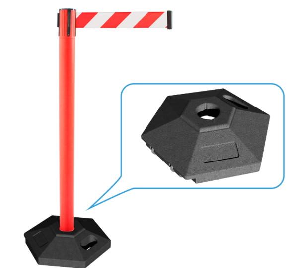 Retractable Belt Queue Bollard w/ Rubber Base