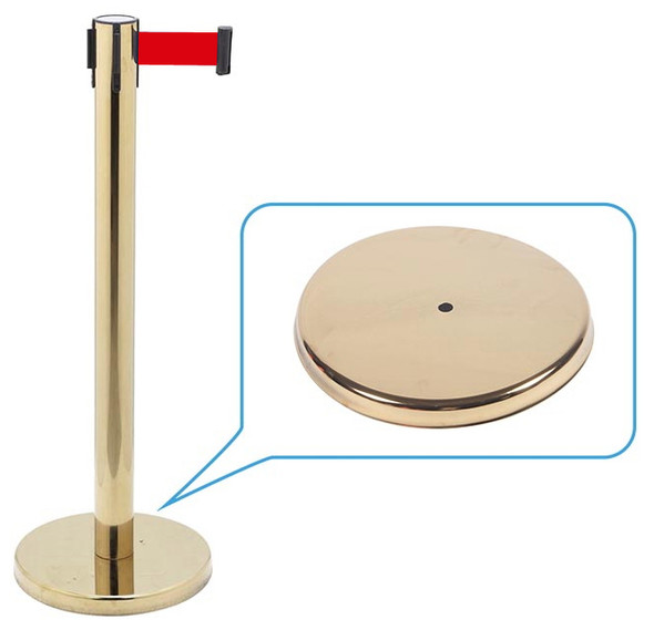 Retractable Belt Queue Bollard Brass with matching base