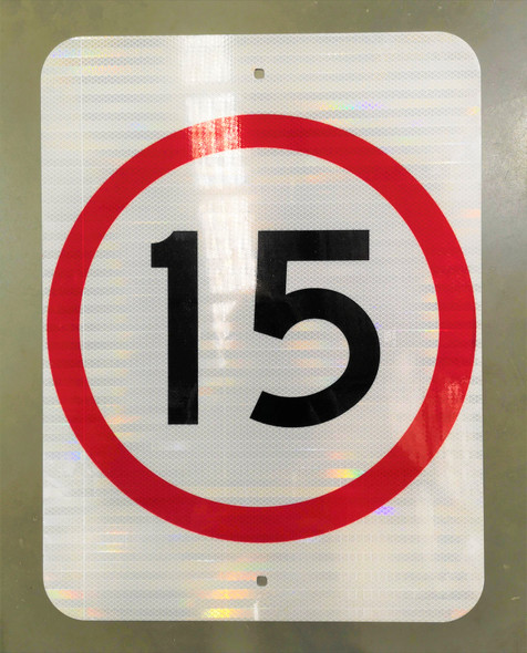 15km Speed Restriction Sign (450mm x 600mm) - Class 1 Reflective Aluminium
