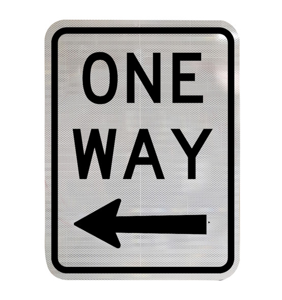 One Way Sign with Left Arrow (450mm x 600mm) - Class 2 Reflective