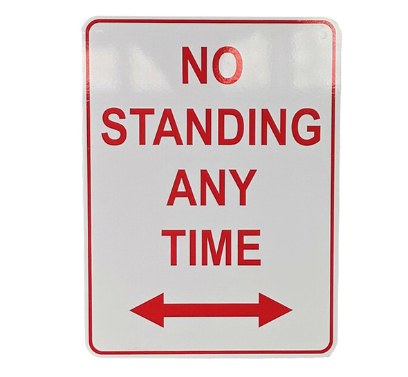 No Standing Anytime with 2 Way Arrow (300mm x 450mm) - Metal