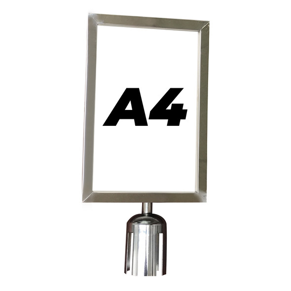 A4 Sign Holder for Retractable Belt Queue Bollard - Portrait - Stainless Steel