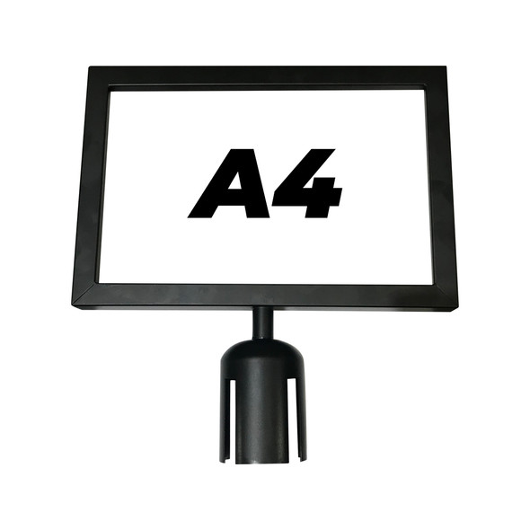A4 Sign Holder for Retractable Belt Queue Bollard - Landscape - Black
