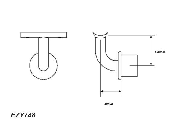 Ezyrail DDA-748 Assist Saddle Internal Swivel Bracket - 48mm