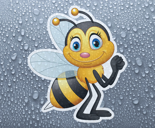 Cute bee - Full colour, fully weather-proof printed vinyl sticker