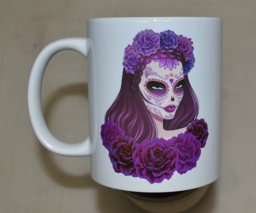 Beautiful lady sugar skull 11oz mug