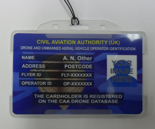 Drone Operator ID & Flyer ID photo card + 10x stickers + cardholder & lanyard