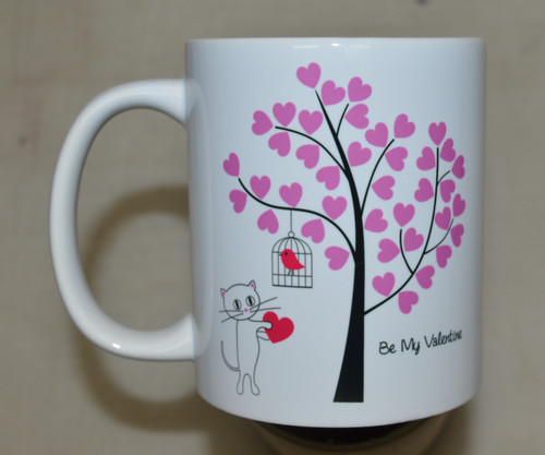 Cat and bird valentines - 11oz mug