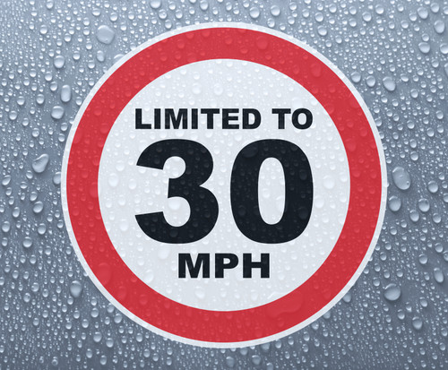 Speed Limited To 30 MPH - printed sticker