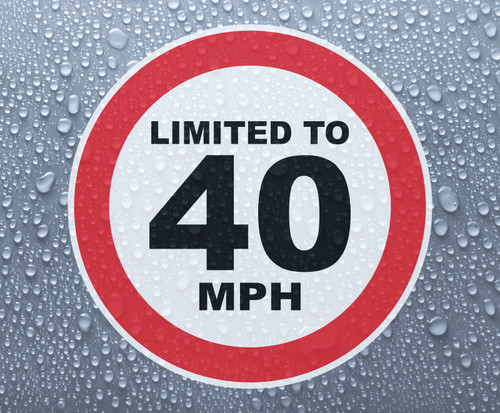 Speed Limited To 40 MPH - printed sticker