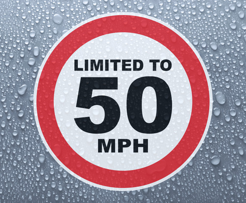 Speed Limited To 50 MPH - printed sticker