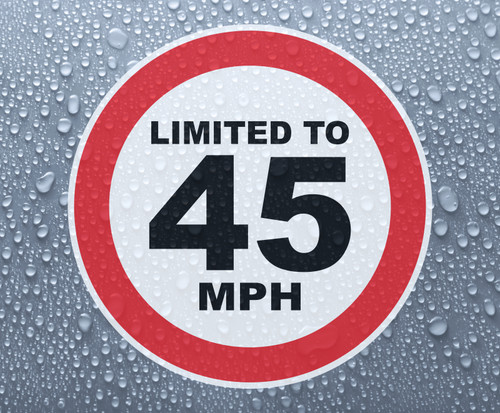 Speed Limited To 45 MPH - printed sticker