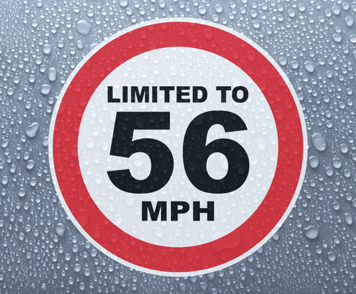 Speed Limited To 56 MPH - printed sticker
