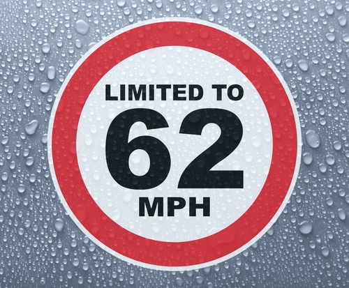 Speed Limited To 62 MPH - printed sticker