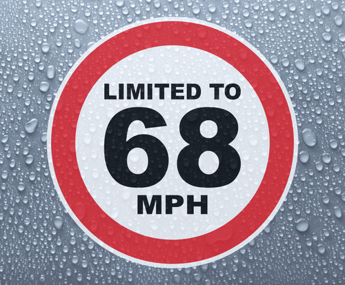 Speed Limited To 68 MPH - printed sticker