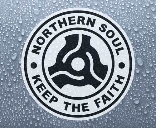 "Northern Soul - retro 7"" single record middle - self-adhesive printed vinyl sticker"