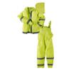 Neese 1820S Econo-Viz 3 Piece Uniform Rainsuit with 2 Inch Reflective Tape, PVC/Polyester, Detachable Hood, Waterproof, High-Viz Lime