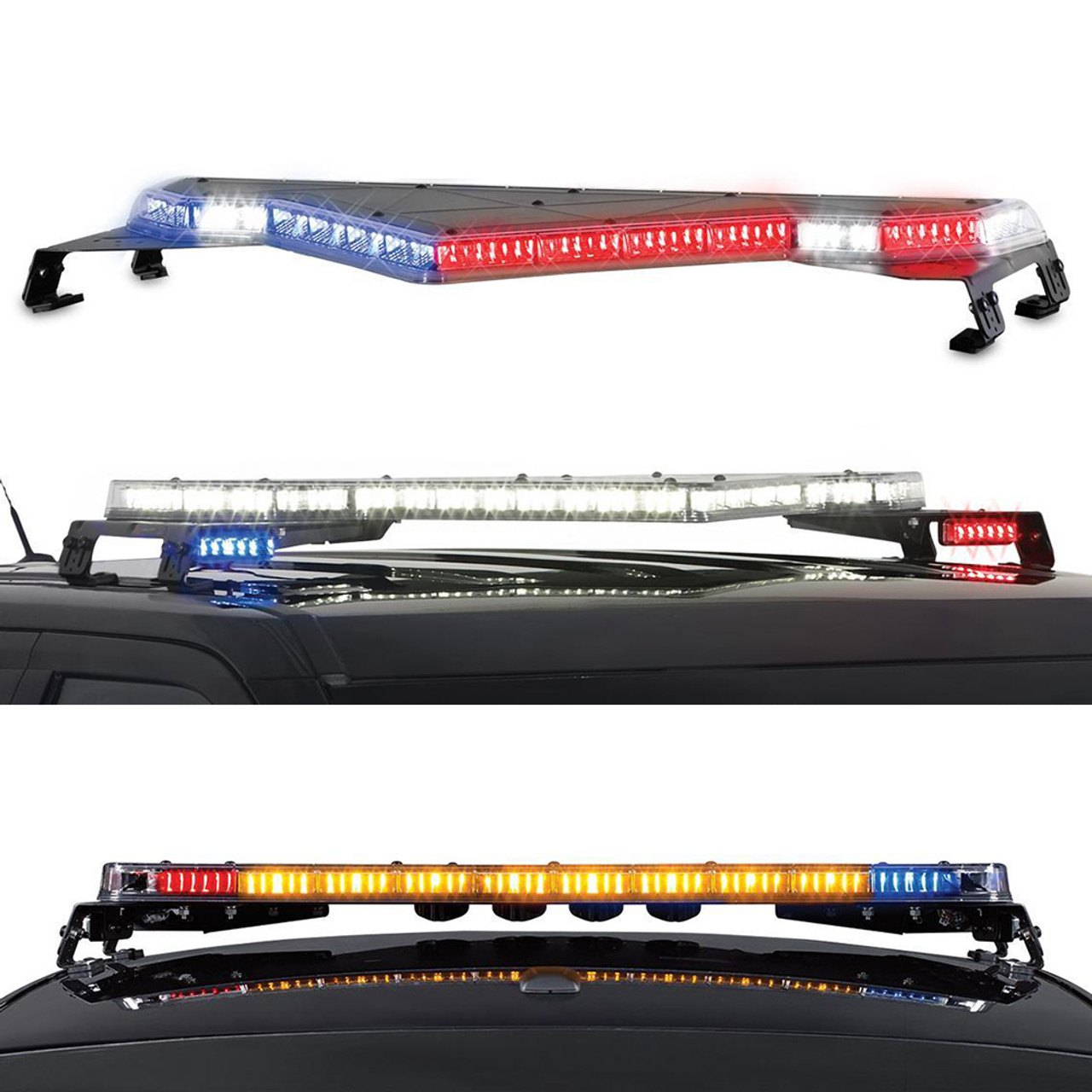 Federal Signal Valor LED Light Bar Dual Color with Full Flood and Traffic Advisor, 51 or 44 inch