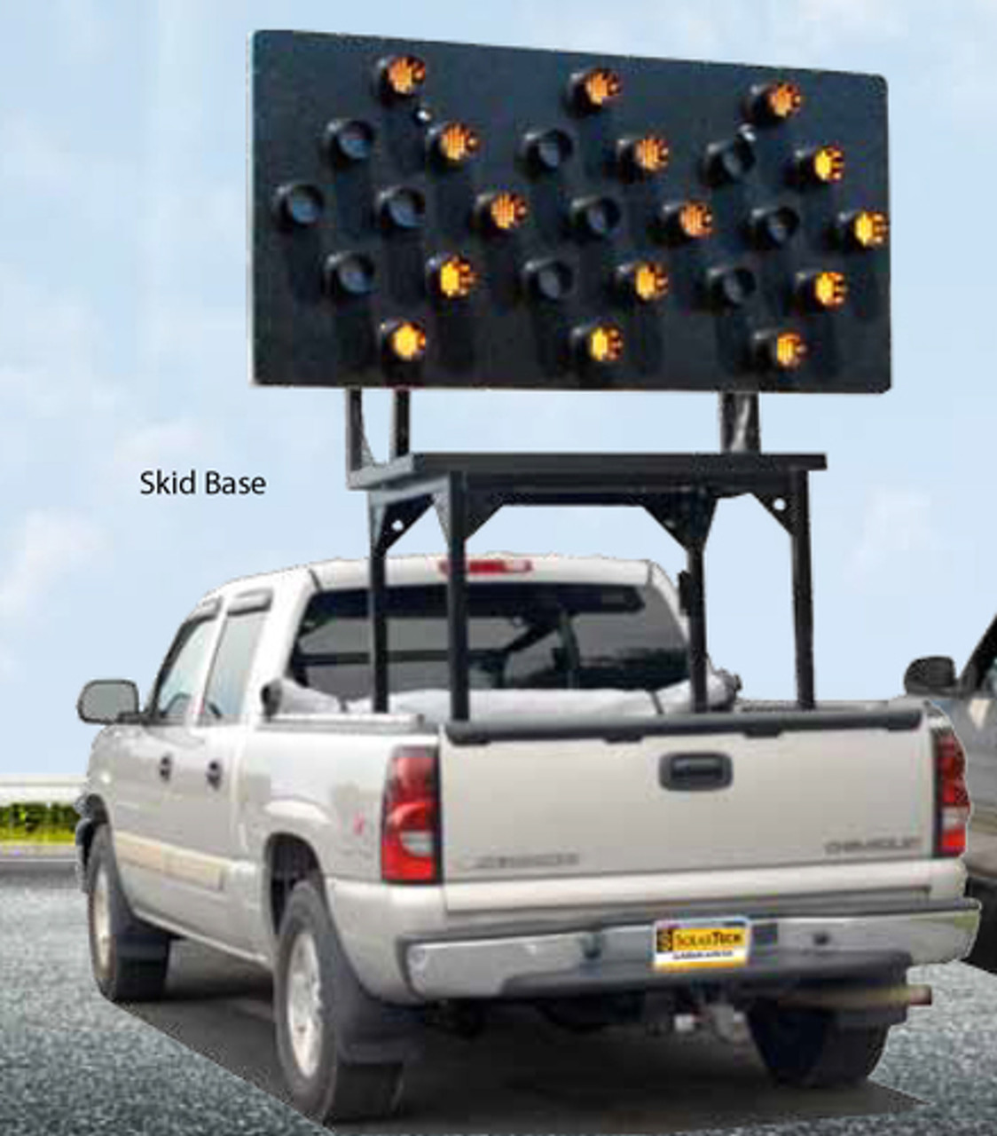 Solar Powered Vehicle Mount Silent Flashing Arrow Board Traffic Advisor Panel 25 LED Lamp by SolarTech