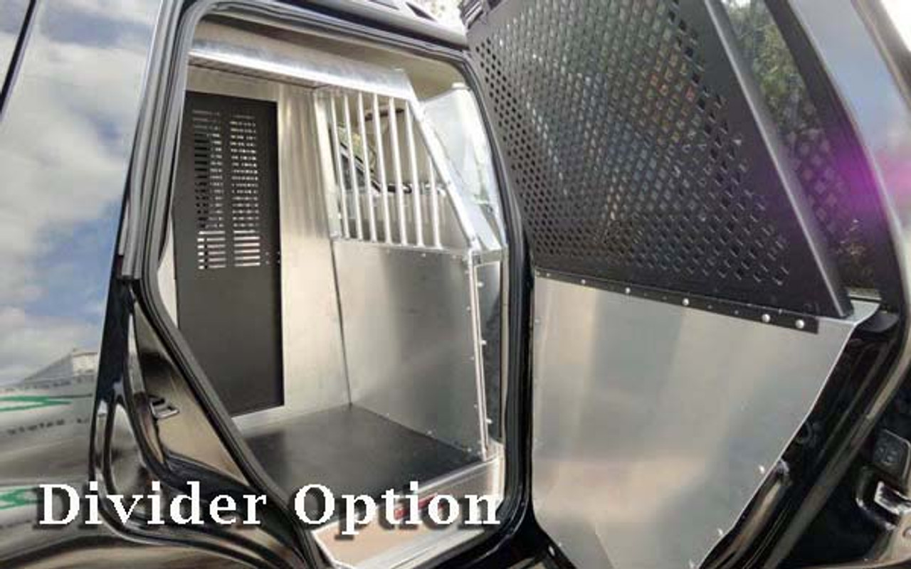 American Aluminum Dodge Charger EZ Rider K9 Police Car Kennel Transport System, Insert, Black or Aluminum Finish, includes rubber mat, door panels, and window guards