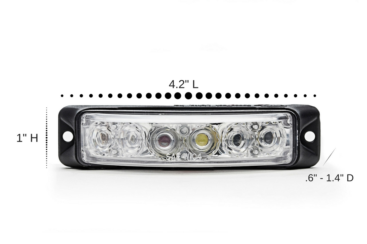 Emergency and Police Vehicle 180 degree 6-LED Flush Surface Mount Light Head Z-180 by SpeedTech Lights, 5 year warranty