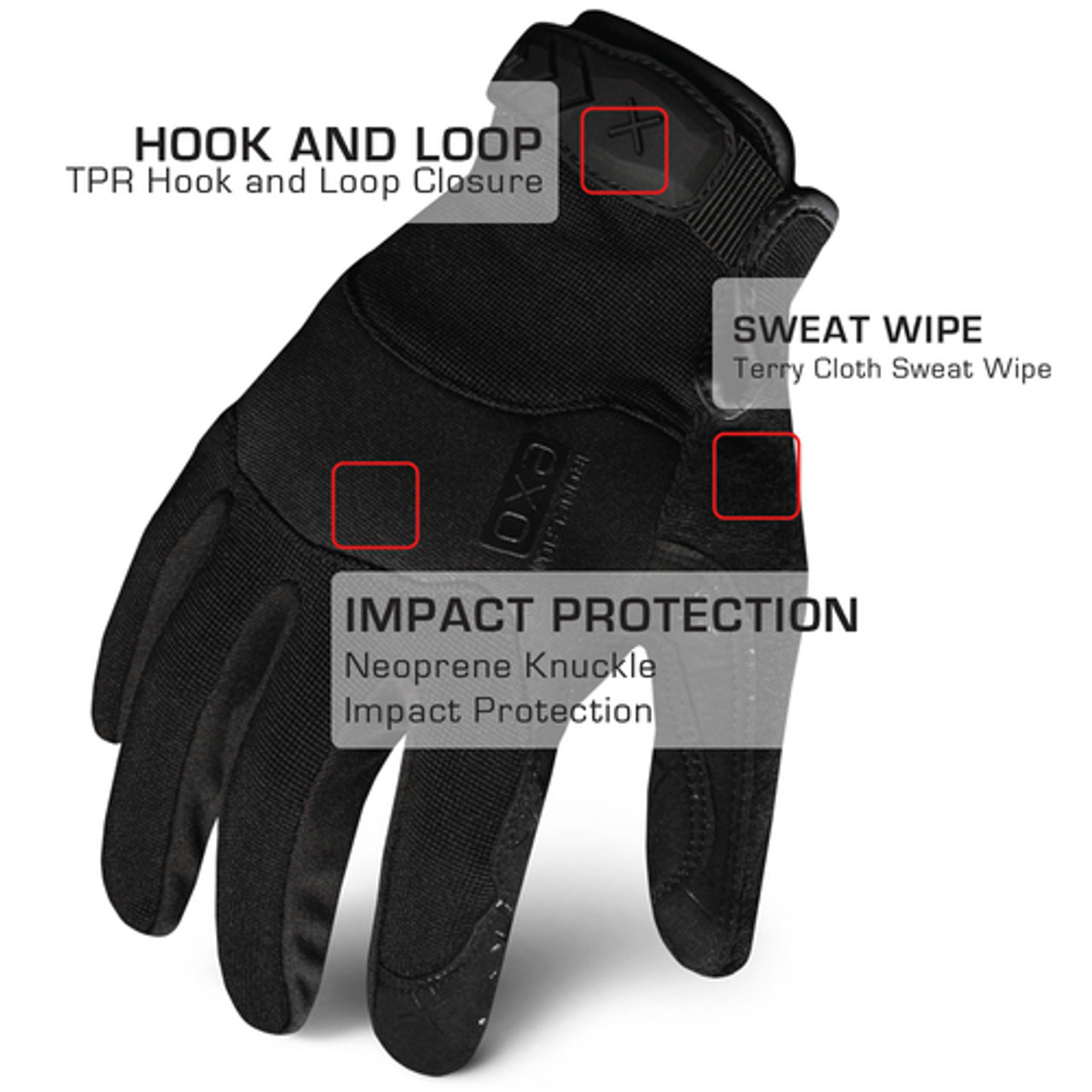 IronClad EXO Tactical Stealth Pro Glove with Neoprene Knuckle Impact Protection