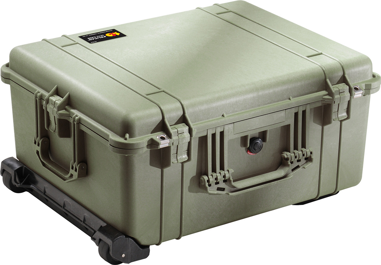Pelican 1610 Large Protector Case - Polyurethane Wheels with Stainless Steel Bearings, Hard Case with Optional Foam Insert, Padded Divider or TrekPak Divider System, Available in Black or OD Green, 25 x 20 x 13, 25 lbs (w-out foam, 21 lbs)