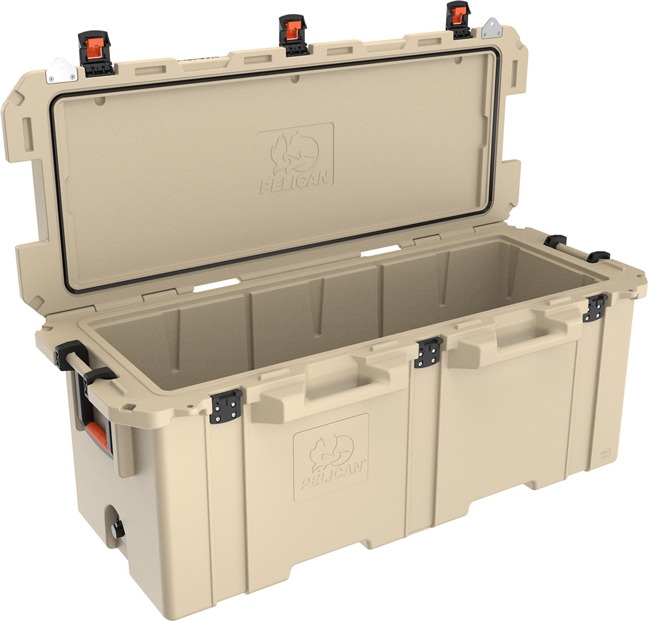 Pelican 250 Quart Cooler with Dual Handles and Press and Pull Latches, Available in Tan or White, 62x29x27, 111 lbs