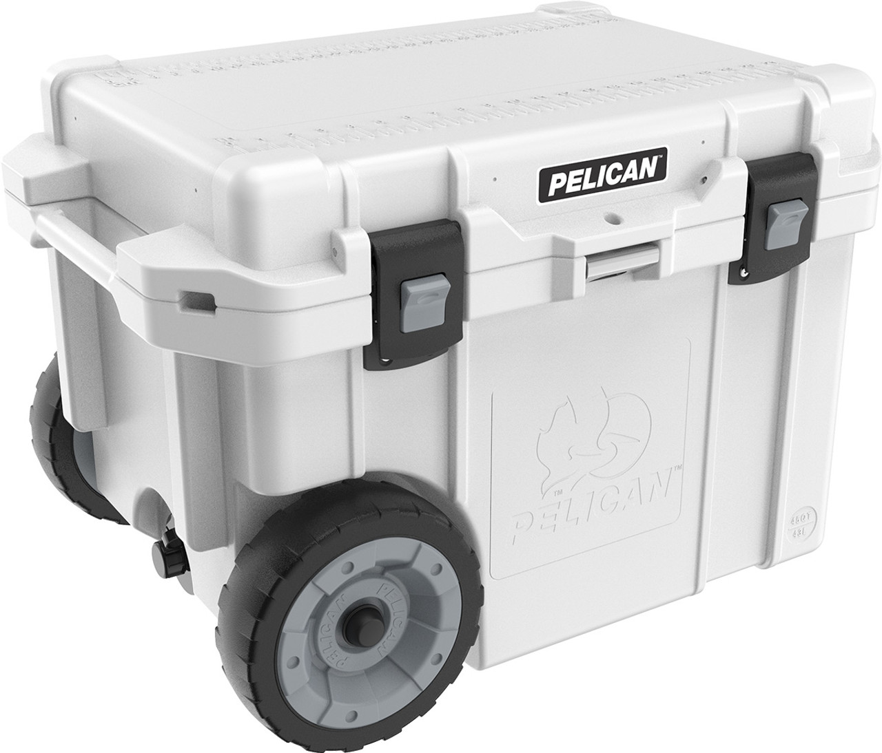 Pelican 45QW Quart Elite Wheeled Cooler with Heavy Duty Wheels, Molded-In Handles with Built In Trolley Handle, Built-in Bottle Opener and Press and Pull Latches, Available in Tan or White, 30x21x20, 38 lbs